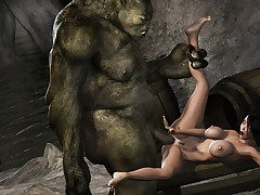 Giant creature ravages an ultra hot monstrosity huntress - HD comics  by 3D Heap
