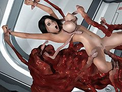 Off colour dame fucked up all her holes by a monstrous creature - HD comics  by 3D Collection