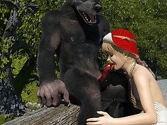 Forlorn floccus wolf destroys rub-down the holes of Red Cap with his red cock