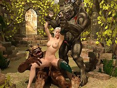 Pretentiously horny trolls double-team a concealed XXX elven slut
