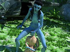 Pulchritudinous Na'vi bitch subdues a kinky man eager to please