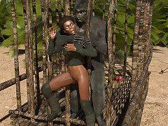 Felonious nett frontierswoman pounded hard by a chubby strong monkey bloke