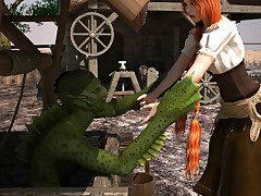 Swamp mutant impales village hottie on his shaft