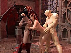 Libellous slut goes to hell-fire where a cacodaemon and a domina use her