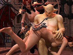 A demon and a femdom mistress use a off colour sissified servant