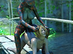 Village babe left at a swamp for the tgirl reptile to fuck say no to
