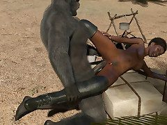 Super cute ebony toddler milks massive throbbing bigfoot cock