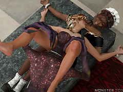 Comehither young woman seduced both senior maid together with outsider master