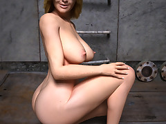 Stunning busty space chick shows off her delicious curves