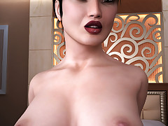 Busty t-girls slide their hard cocks in tight buttholes