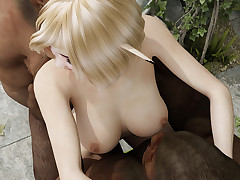 Well-endowed blonde elf gets close by pleasure two ugly orc dicks