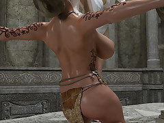 Two saucy fairy-tale babes with big boobs lick each other's twats