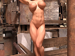 Athletic babe flexes added to shows off her big tits added to her wet cunt