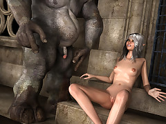 Steaming hot babe gets fucked by a monster from the Greek folk tale