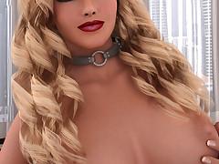 Dispirited blonde tgirl with big boobs tugs on her throbbing cock