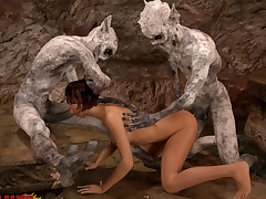 These horny sluts backbone get penetrated by hard monster schlongs