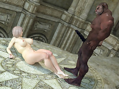 Ebony Demon. BBW frau was violently loved in all holes by an excited demon