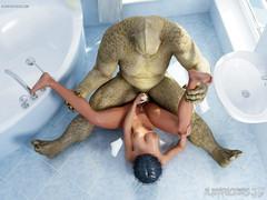 Monster in My Bathroom. Exploitive alien deeply fucks a busty frau outlander master b crush