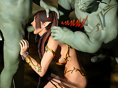 Two ogres like to fuck her tight elf pussy and make her cum.