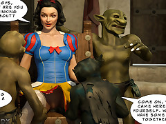 Goblins made Snow White moan in pleasure with their dicks.