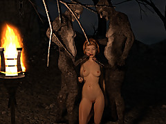 Two horny monster cocks make the beast with two backs her delectable twat in the woods.