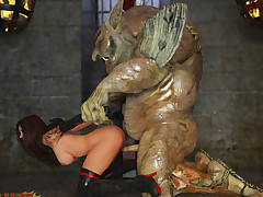 Horny troll captures and dominates his new sexy slave girl