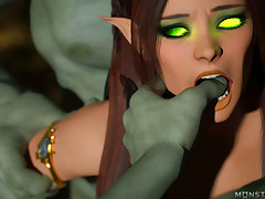 Pointy-ear babe sleeps with two ogres to acknowledge alive