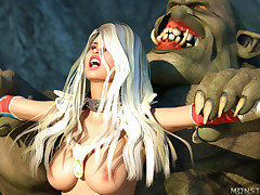 Lovable babe Jaina got in arms be required of depraved monster and his females
